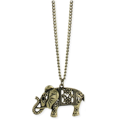 Zad Jewelry Cut-Out Elephant Pendant Necklace