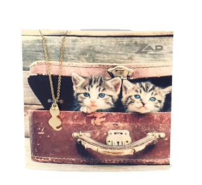 Zad Jewelry 'Here Kitty' Cat Mini Pendant Necklace
