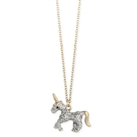 Zad Jewelry Magical Unicorn Pendant Necklace, Glitter