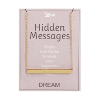 Hidden Messages Slide Bar Engraved DREAM Necklace