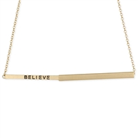 Hidden Message Slide Bar Engraved BELIEVE Necklace