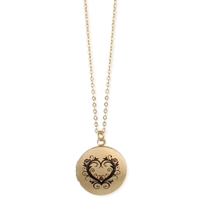 Vintage Floral Heart Locket Pendant Necklace