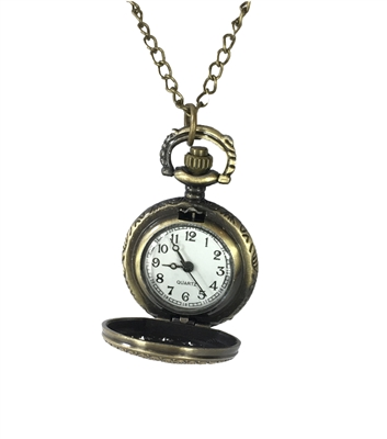 Zad Jewelry Cut-Out Face Pocket Watch Pendant Necklace