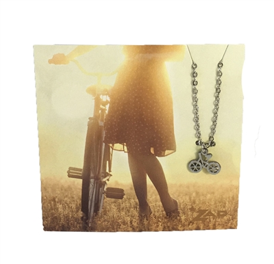 Zad Jewelry 'Explore' Bicycle Mini Pendant Necklace