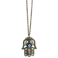 Zad Jewelry Hamsa Hand Evil Eye Long Pendant Necklace