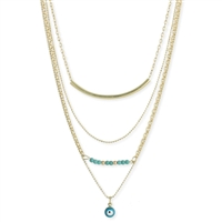 Turquoise Bead Evil Eye 4 Line Layer Necklace
