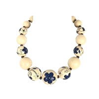 Zad Jewelry Floral Painted Large Wooden Bead Necklace