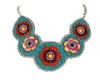 Zad Jewelry Embroidered Flower Beaded Bib Necklace, Multi