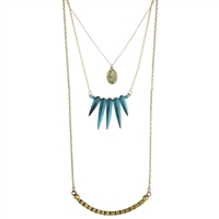 Zad Jewelry Coin & Patina Spike Layer Necklace