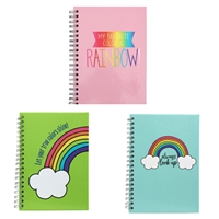 Rainbow Print Motif Mini Spiral Notebbok Set