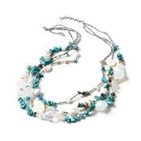 Amrita Singh Bayside Multi Strand Shell Beaded Necklace