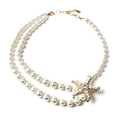 Amrita Singh Starfish Mauritius Port Simulated Pearl Necklace