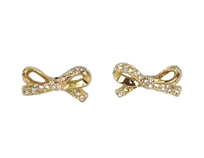Kate Spade Skinny Mini Pave Bow Stud Earrings Gold
