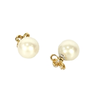 Kate Spade Pave Tie Bow Pearl Double Stud Earrings