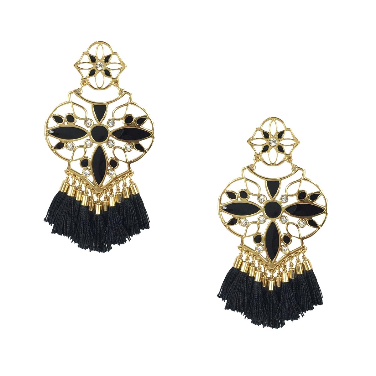 29c6ba265cac9 Kate Spade Moroccan Tile Chandelier Earrings, Black