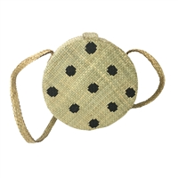 Banago Olga Polka Dot Straw Canteen Circle Crossbody