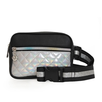 OMG! Accessories Quilted Hologram Fanny Pack Bum Bag