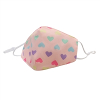 Heart Print Reusable Face Covering with Interior Pocket