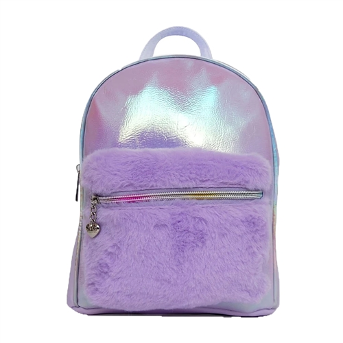 OMG! Metallic Mini Backpack Faux Fur Pocket