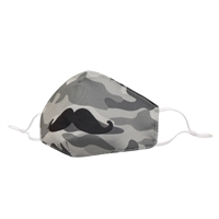 Boys Kids Camo Mustache Reusable Face Covering with Interior Pocket
