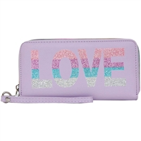 OMG! Accessories Glitter Love Wristlet Zip Around Wallet