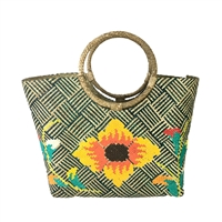 Banago Olivia Sunflower Straw Circle Handle Large Tote
