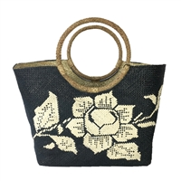 Banago Olivia White Rose Straw Large Circle Handle Tote