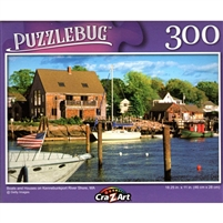 Boats and Houses on Kennebunkport River Shore, MA 300 Small Pc Jigsaw Puzzle