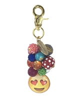 Lenora Dame Smiling Face w Heart Eyes Emoji Beaded Purse Charm