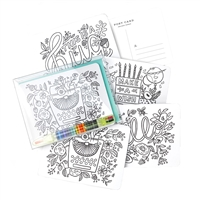 Inklings Color-in Postcard Kit 12 Postcards