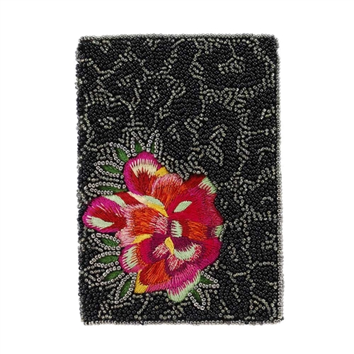 Mary Frances Wild Flower Beaded Travel Passport Holder,