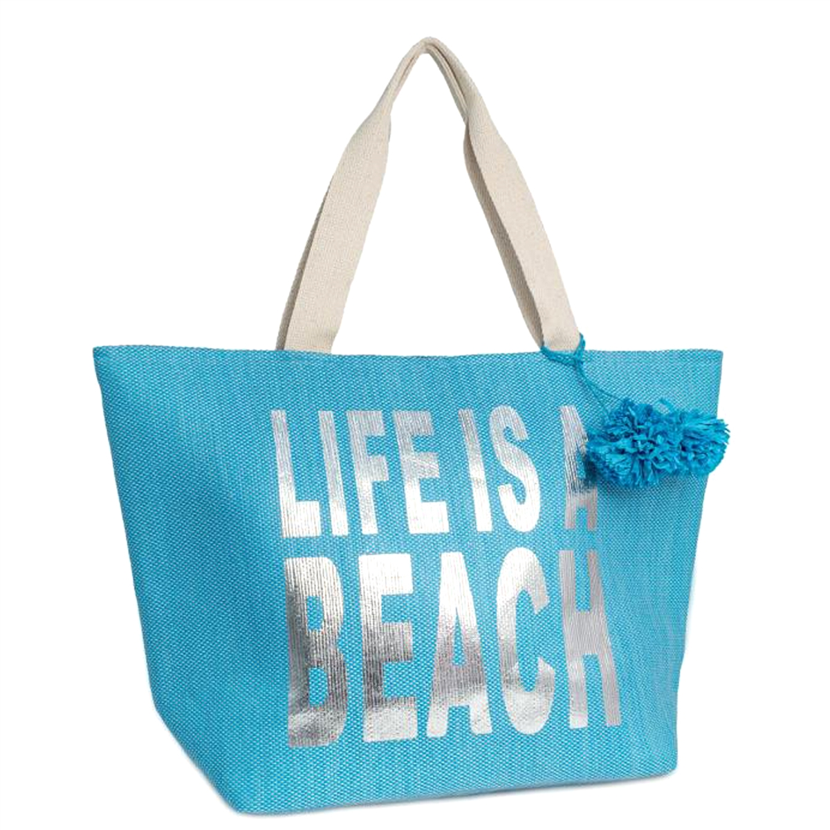 Life Is A Beach Insulated Oversized Cooler Tote Bag Turquoise