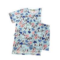 Fashion Junior's Boston Terrier Dogs Pajama Lounge Shorts & Scrub Top Set
