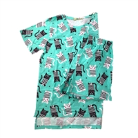 Fashion Junior's Funky Cat Print Pajama Lounge Pajama Lounge Shorts & Scrub Top Set