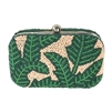 From St Xavier Nina Tropical Palm Beaded Box Clutch