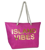 Island Vibes Beach Bag Packable Large Tote