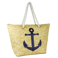 Nautical Anchor Beach Bag Packable Large Tote