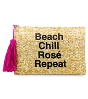 Magid Beach Chill Rose Repeat Straw Clutch