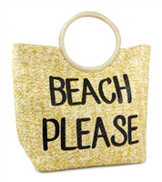 Beach Please Circle Handle Beach Bag Packable Large Tote