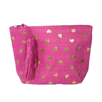 Magid Metallic Hearts Straw Clutch Cosmetic Bag