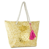 Golden Pineapple Beach Bag Packable Large Tote