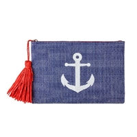 Magid Nautical Anchor Straw Clutch w Tassel