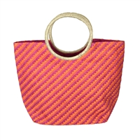 Magid Straw Striped Circle Handle Beach Bag Packable Large Tote