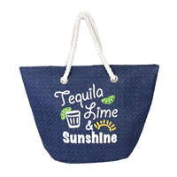 Magid Tequila Lime & Sunshine Packable Large Straw Tote
