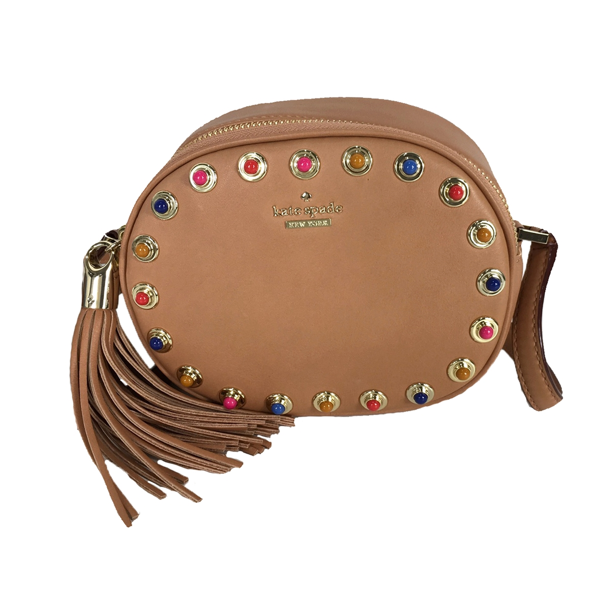 cheaper sale browse latest collections 100% original Kate Spade Tinley Colorful Studs Leather Camera Crossbody, Marsala Brown