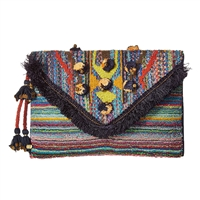Steve Madden Pennie Boho Fringe Colorful Clutch
