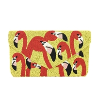 Clutch Me By Q Flamingo Head Pop Art Beaded Envelope Clutch