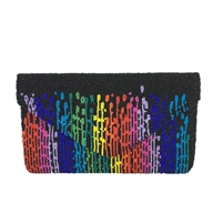 Clutch Me By Q Rainbow Paint Drips Beaded Envelope Clutch