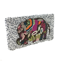 Clutch Me By Q Lucky Elephant Beaded Envelope Clutch