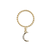 Zad Jewelry Twisted Band Ring Pave Moon Charm